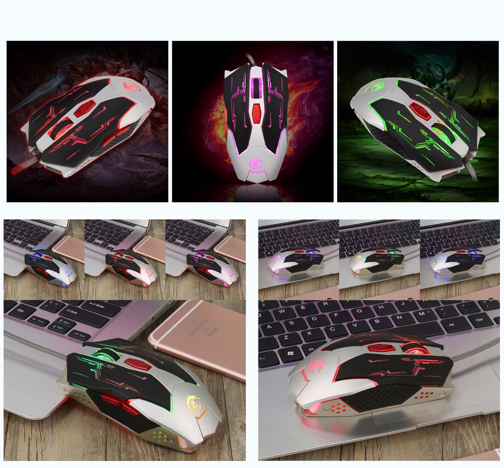 HXSJ X100 Wired Six Buttons Gaming Mouse Game Peripherals with LED for PC Laptop Computer