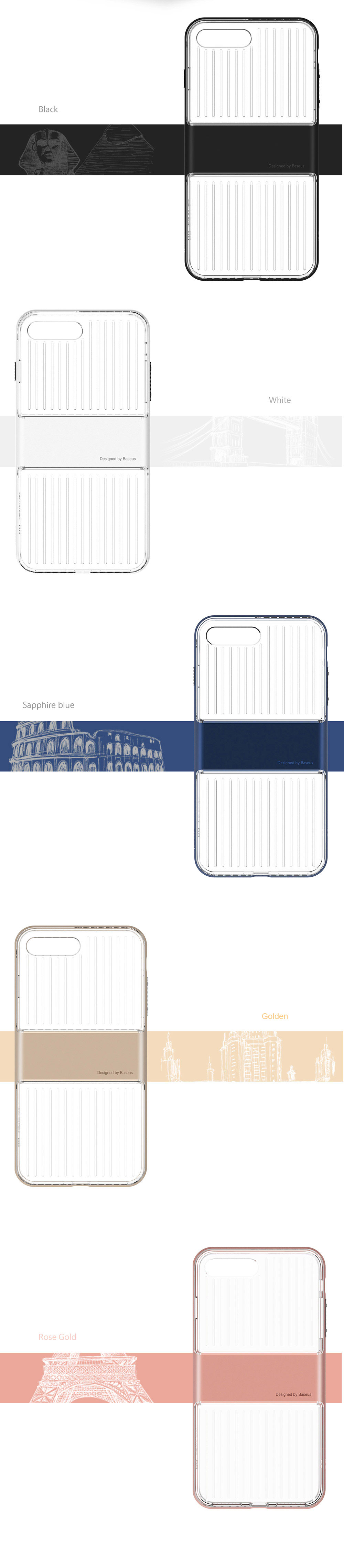 Baseus Travel Series Transparent Type TPU + PC Double Protection Skin for iPhone 7