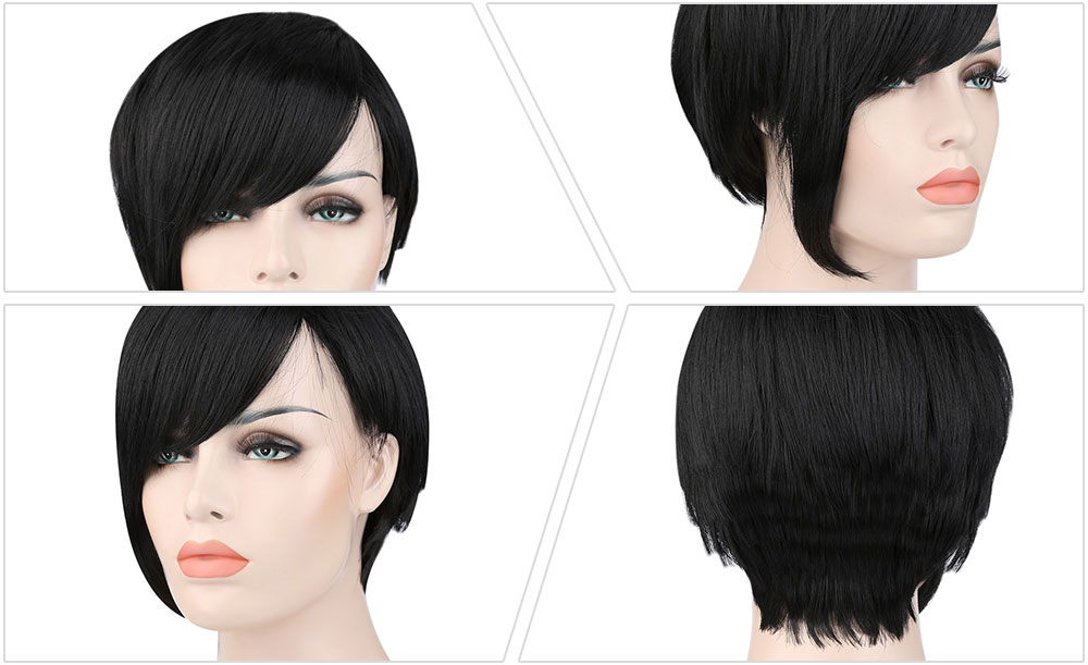Stylish Handsome Ultra Short Natural Black Synthetic Wigs for Women Cosplay Party
