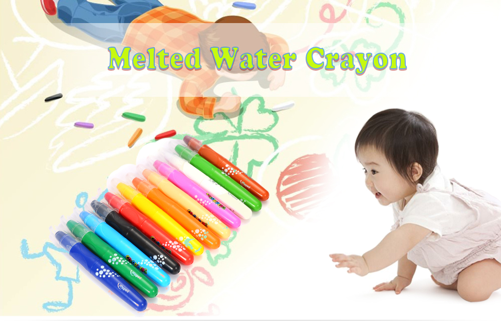 Maped Universal Bright Colorful Bar Water Solubility Crayon with 12 Colors