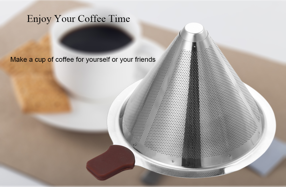 Portable Stainless Steel Reusable V-type Coffee Filter