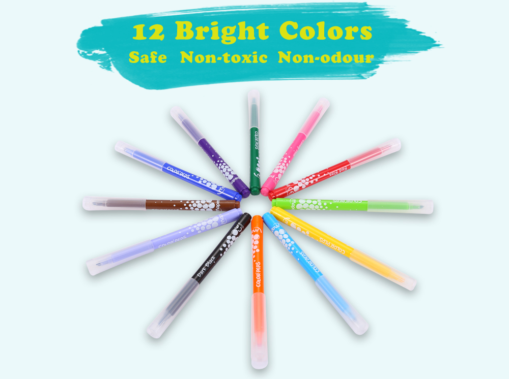 Maped Universal Bright Colorful Watercolor Brush Pen Water Based Marker with 12 Colors