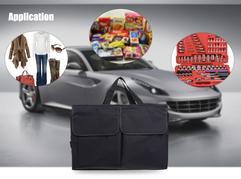 Foldable Multifunctional Vehicle Trunk Storage Bag Stretch Non-fabric Basket