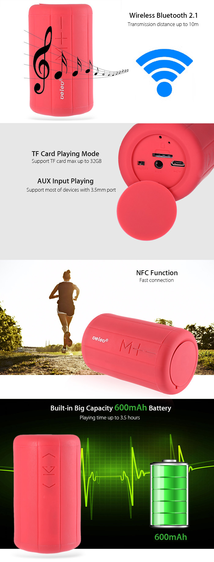 Velev K12 - BT Portable Wireless Bluetooth Speaker Outdoor Mountain Bicycle Subwoofer