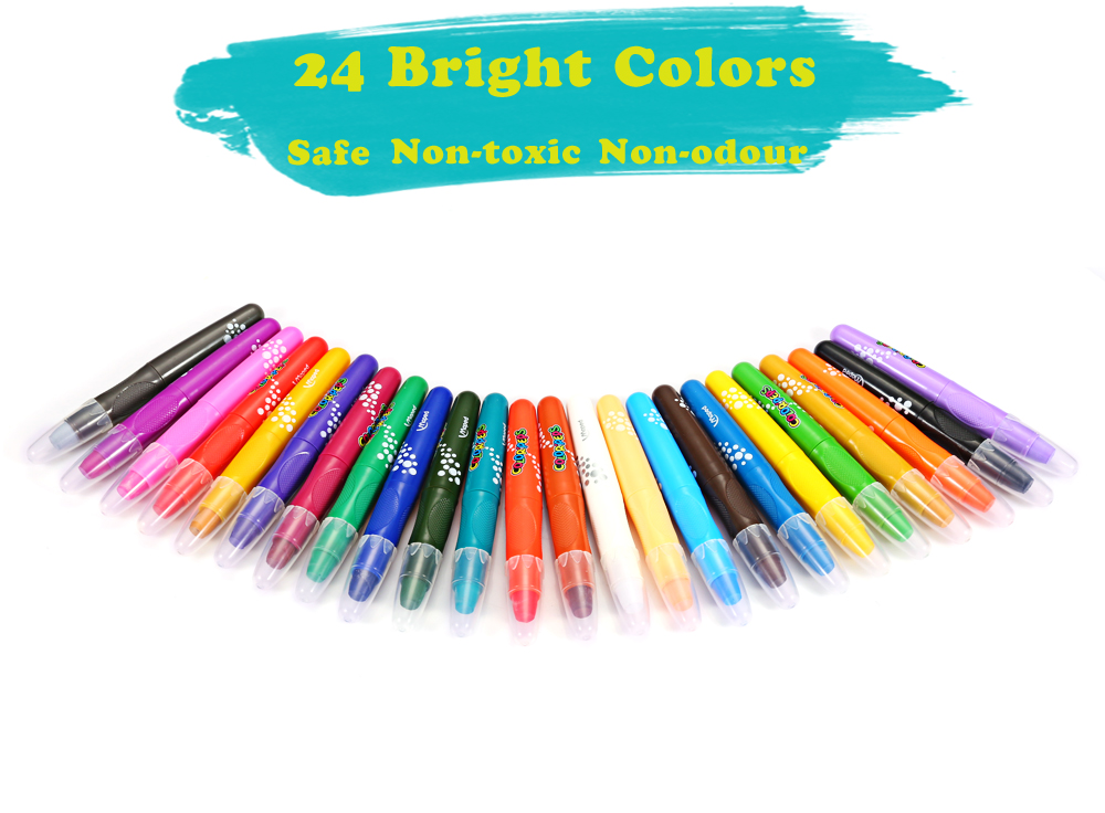 Maped Generic Bright Colorful Bar Water Solubility Crayon with 24 Colors