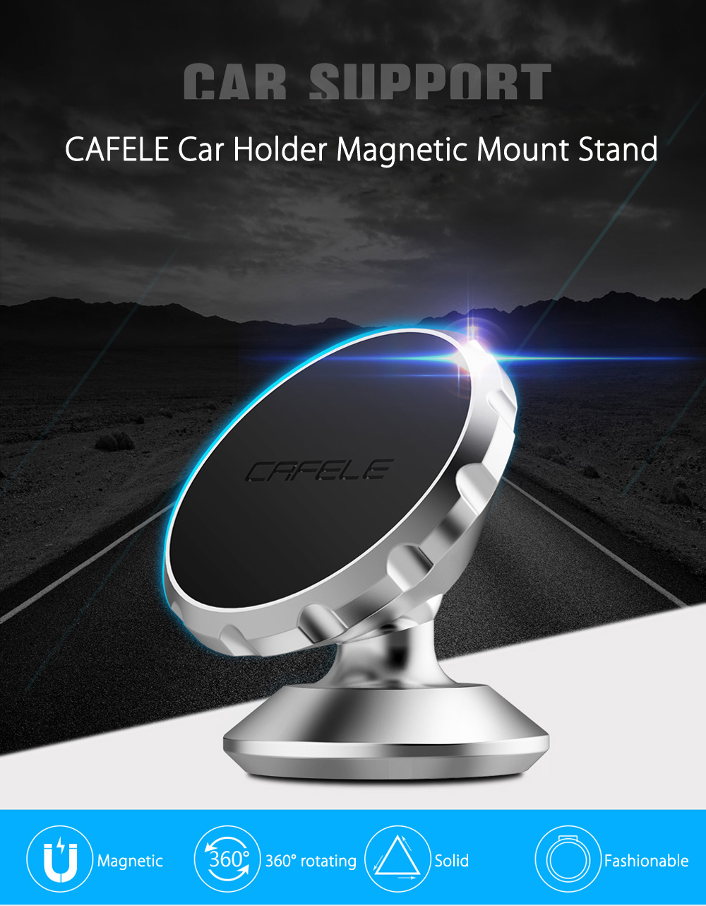 CAFELE 360 Degree Rotating Car Holder Magnetic Mount Stand
