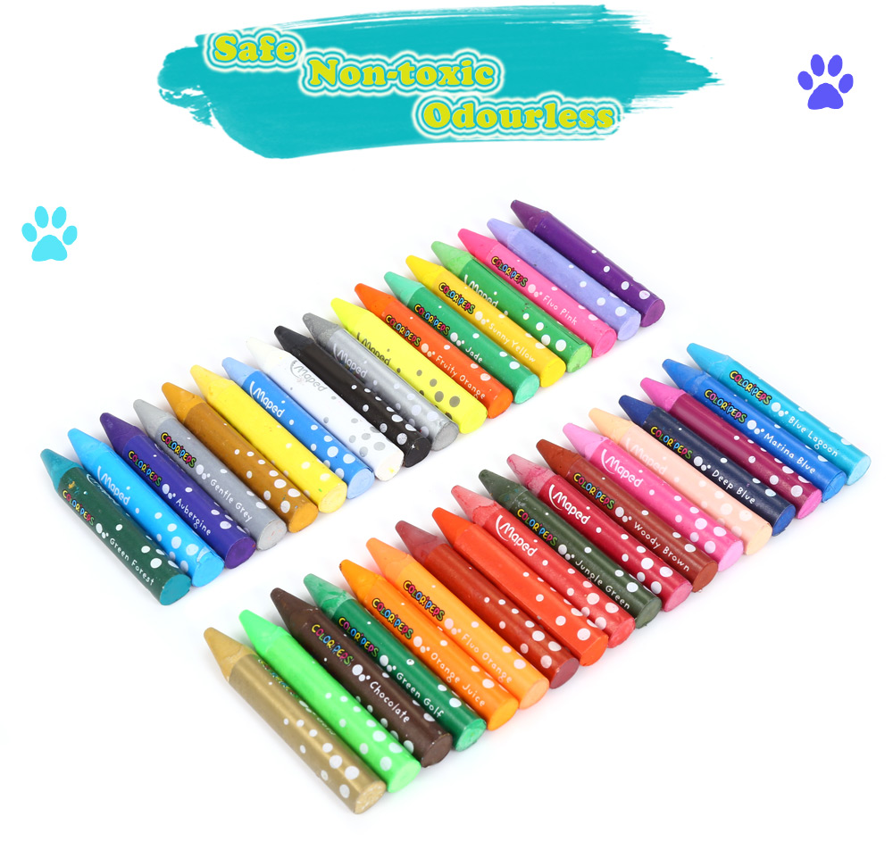 Maped 36 Colors Water Washing Colorful Triangular Rod Oil Painting Stick for Children