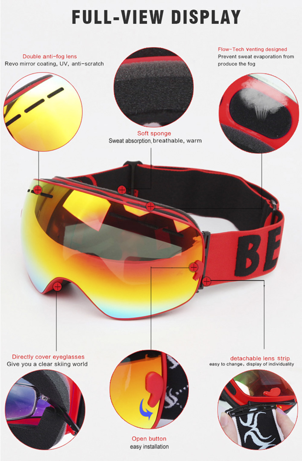 BENICE Double UV Protection Anti-fog Big Skiing Goggles Mask Men Women Snowboarding Glasses