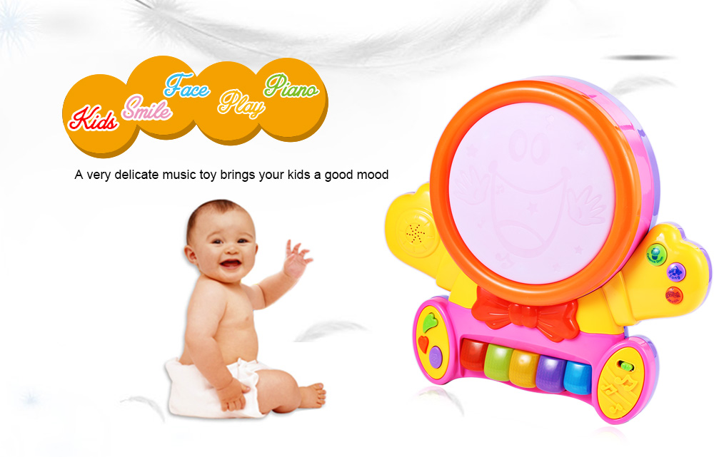 HangLei Baby Preschool Colorful Musical Smile Face Play Piano with Light