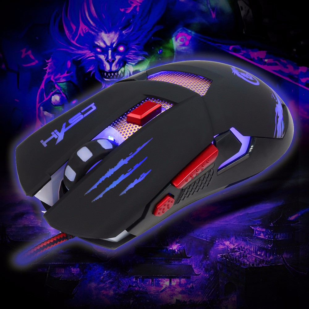 HXSJ H400 Wired Six Buttons Gaming Mouse Game Peripherals with LED for PC Laptop Computer