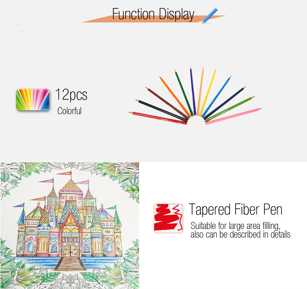 Maped 12 Colors Triangle Rod Wooden Colored Pencil for Kids