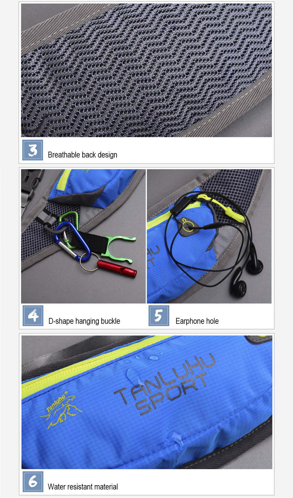 Tanluhu FK334 Unisex Running Waist Pack Mobile Phone Bag Money Belt for Traveling Mountaineering Cycling