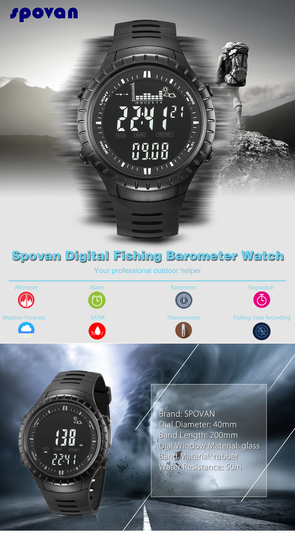 Spovan SPV710 Digital Fishing Barometer Watch Weather Forecast Sport Wristwatch
