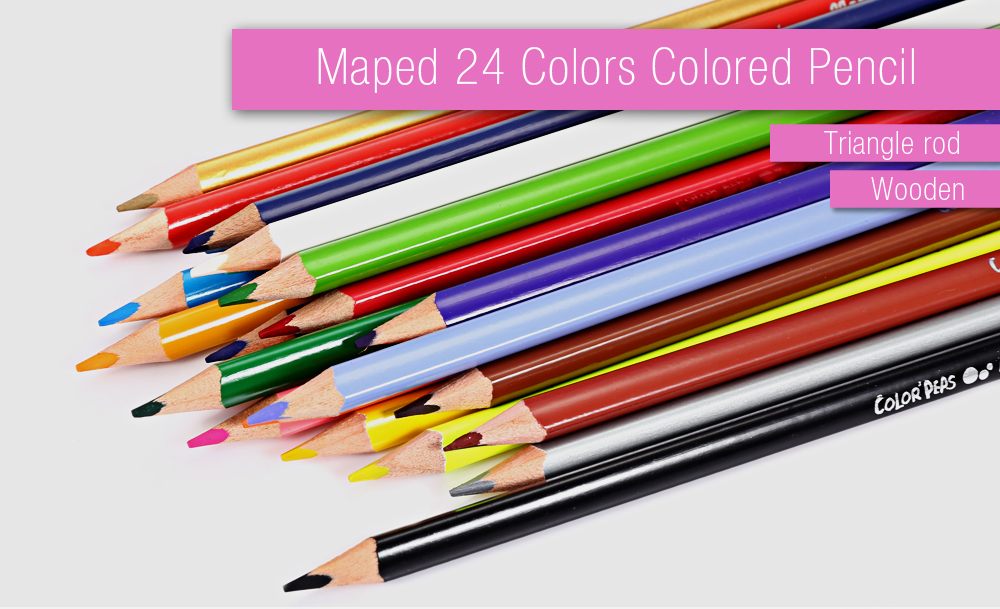 Maped 24 Colors Triangle Rod Wooden Colored Pencil for Kids