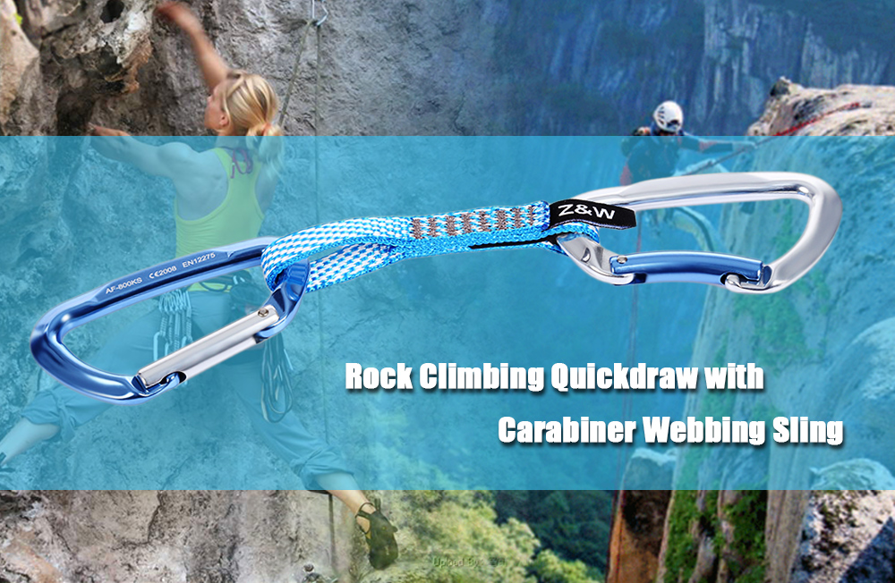 Safety Buckle Quickdraw Aluminum Carabiner Flat Strap for Outdoor Survival Rock Climbing