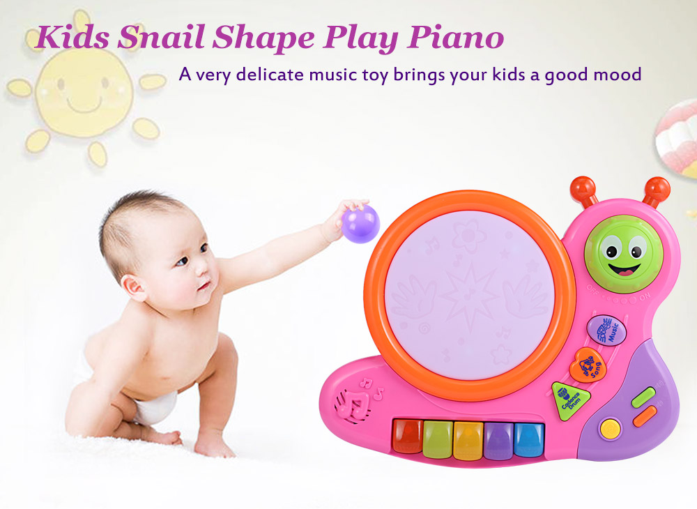 XangLei Baby Preschool Cute Musical Snail Shape Play Piano with Light