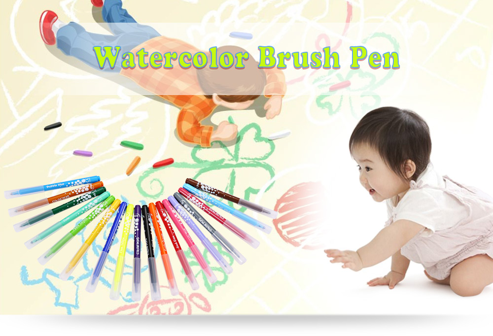 Maped Universal Bright Colorful Watercolor Brush Pen Water Based Marker with 18 Colors
