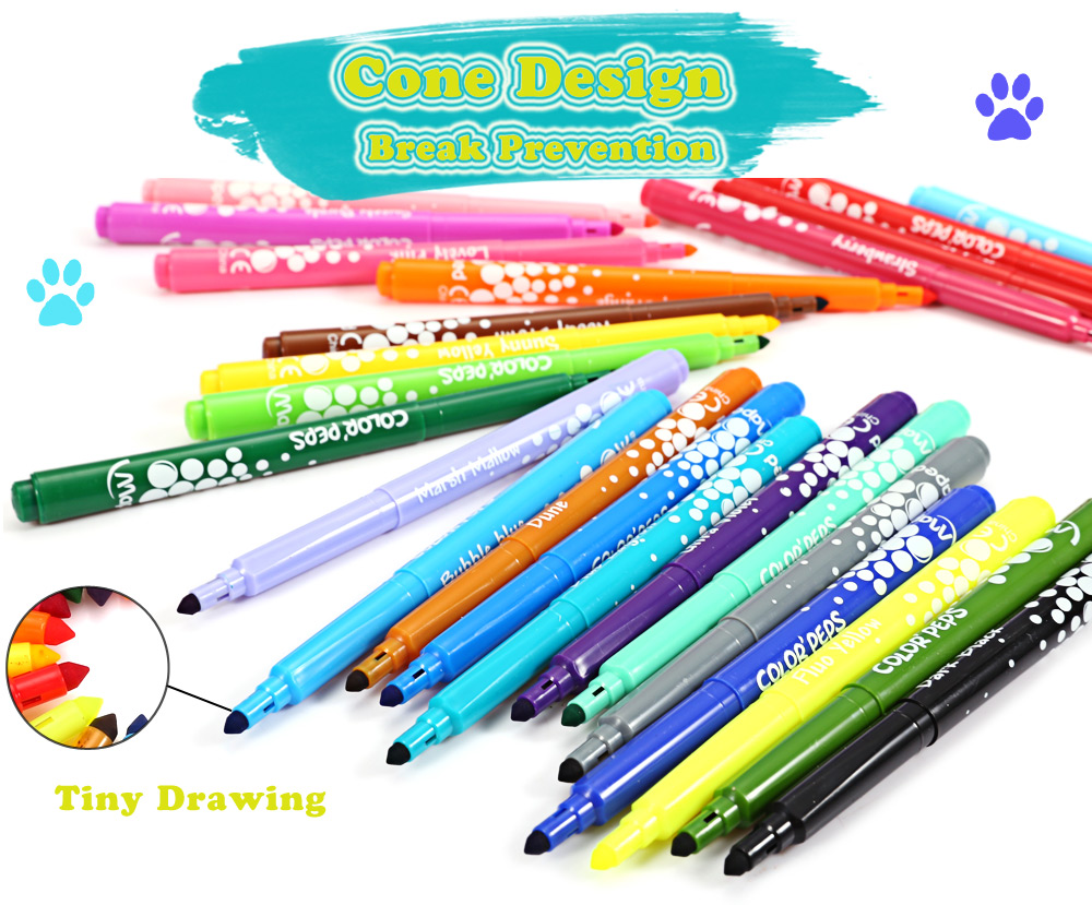 Maped Universal Bright Colorful Watercolor Brush Pen Water Based Marker with 24 Colors