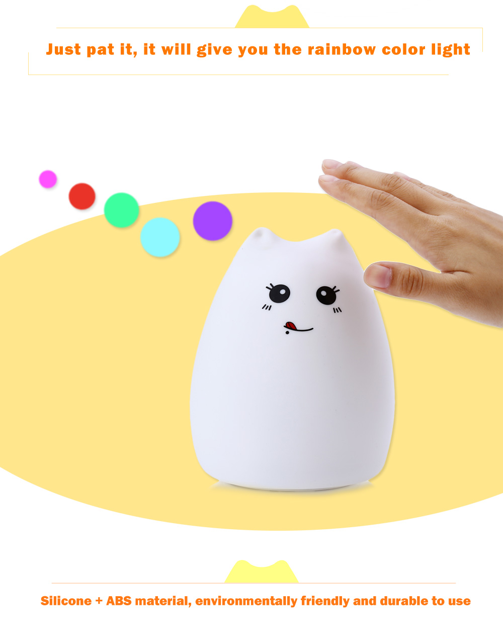 Ziyouxing ZJC - 101 LED USB Rechargeable Cute Cat Night Light Bedroom Hit Beat Lamp for Home Decoration