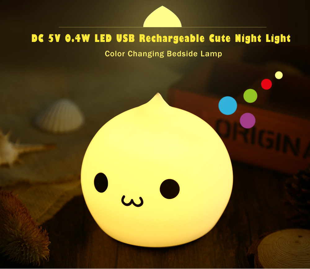 DC 5V 0.4W LED USB Rechargeable Cute Night Light Color Changing Bedside Lamp