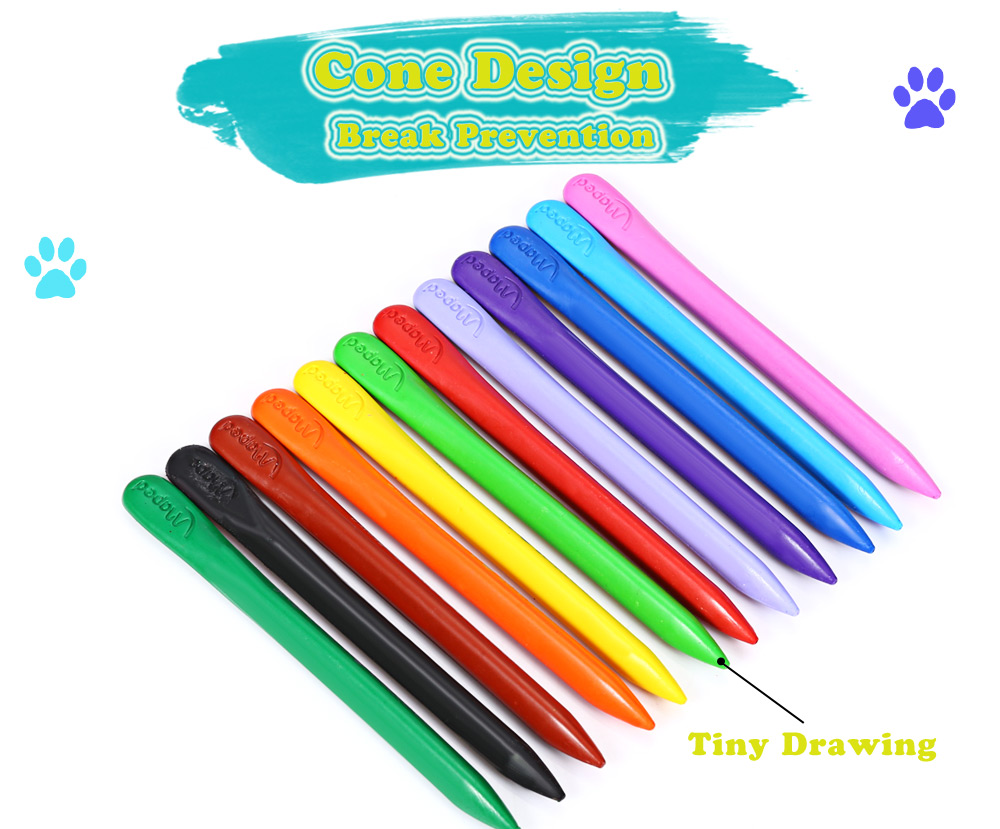 Maped Universal Bright Colorful Bar Plastic Crayon with 12 Colors