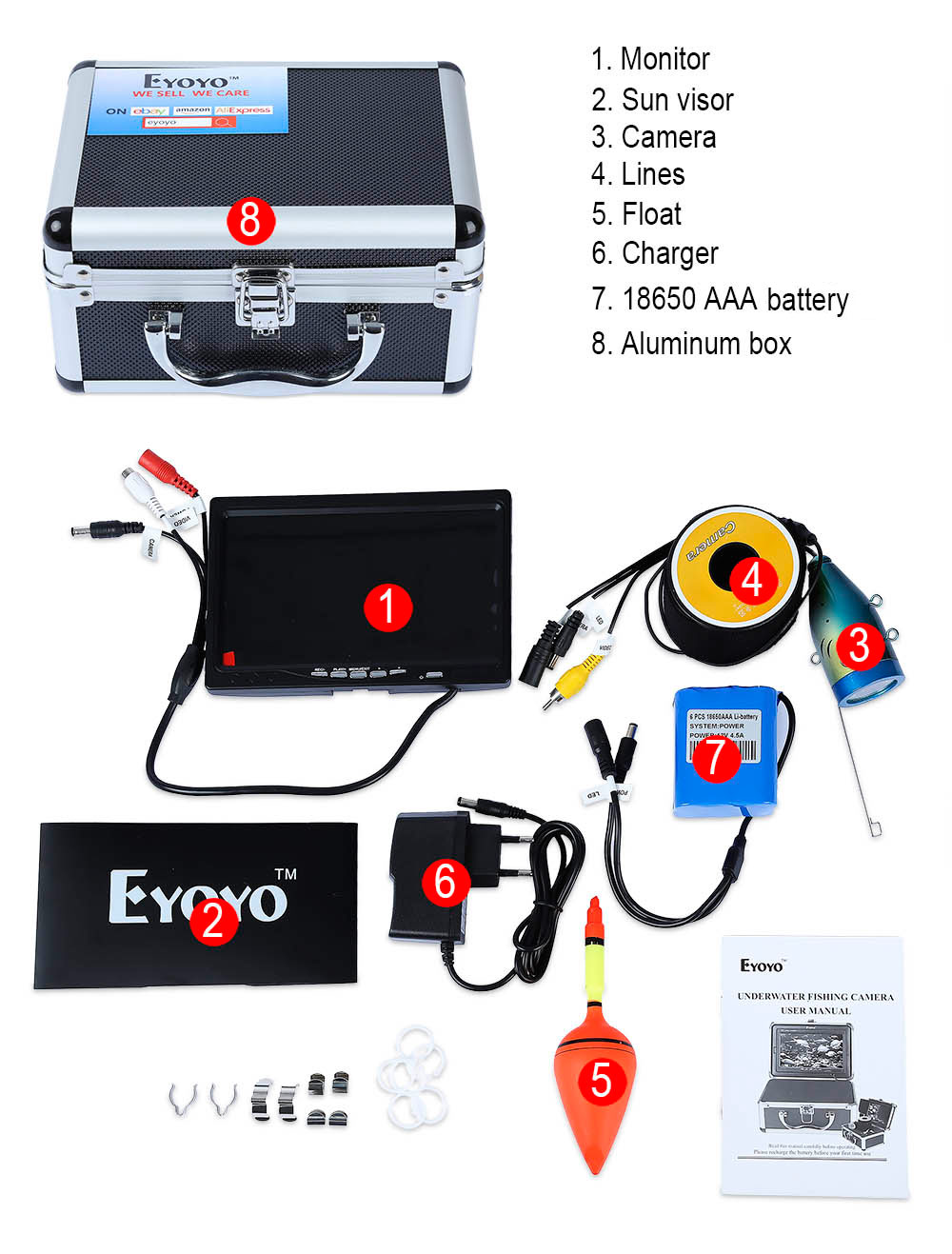 Eyoyo 15M 1000TVL Underwater Fishing Finder Camera Monitor with Sun Visor Infrared IR LED