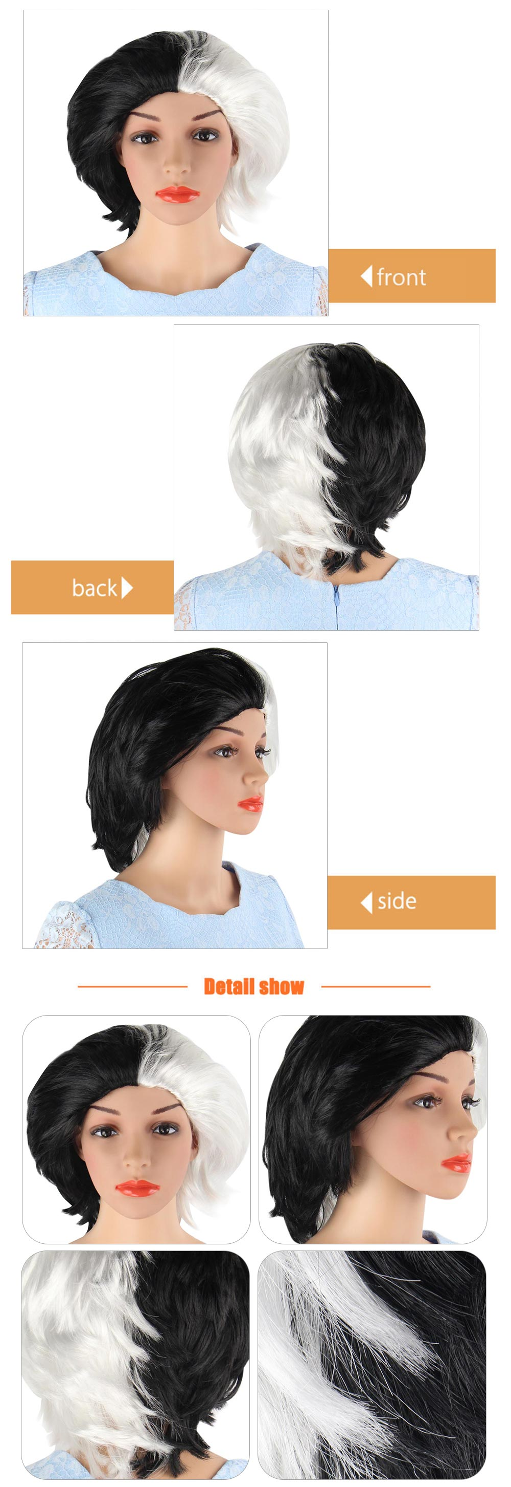 Short Slight Curly Half Black White Slicked Back Wigs Cosplay Hair Party Costume
