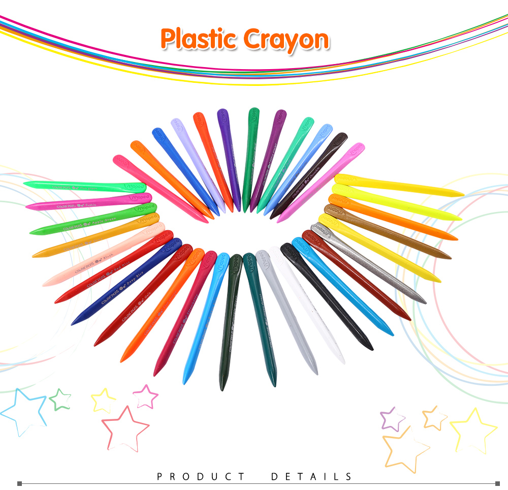 Maped Universal 36 Colors Bright Colorful Bar Plastic Crayon with Box