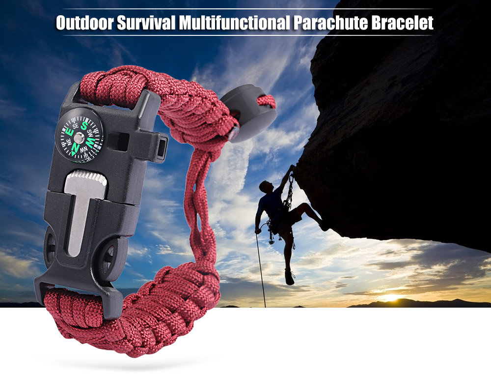 Multifunctional Outdoor Adventure Compass Whistle Knitted Emergency Survival Parachute Bracelet