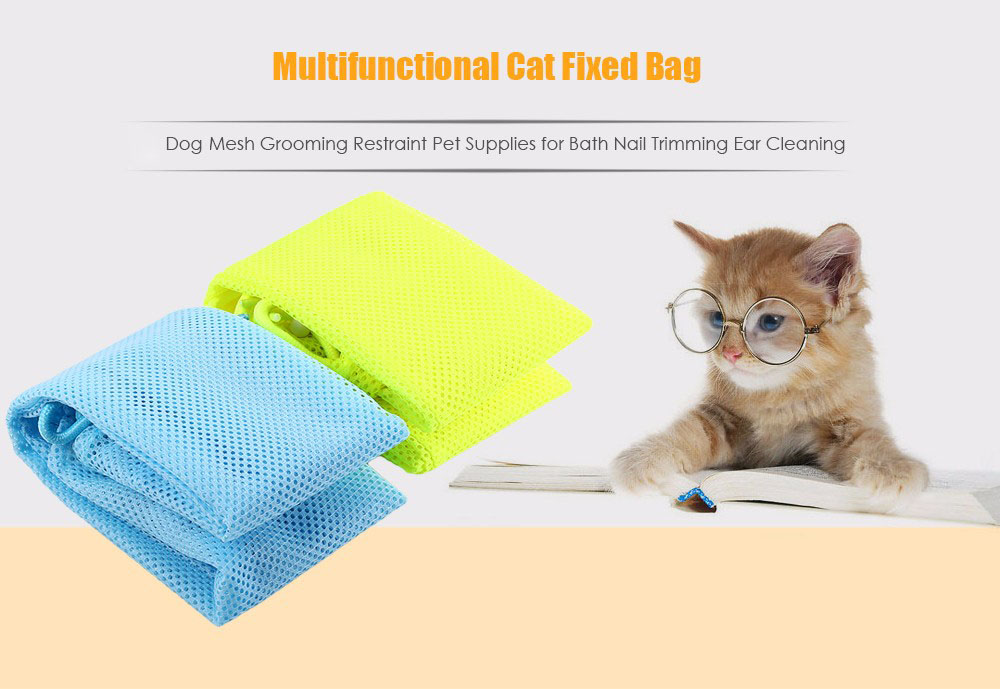 Multifunctional Cat Fixed Bag Dog Mesh Grooming Restraint Pet Supplies for Bath Nail Trimming Ear Cleaning