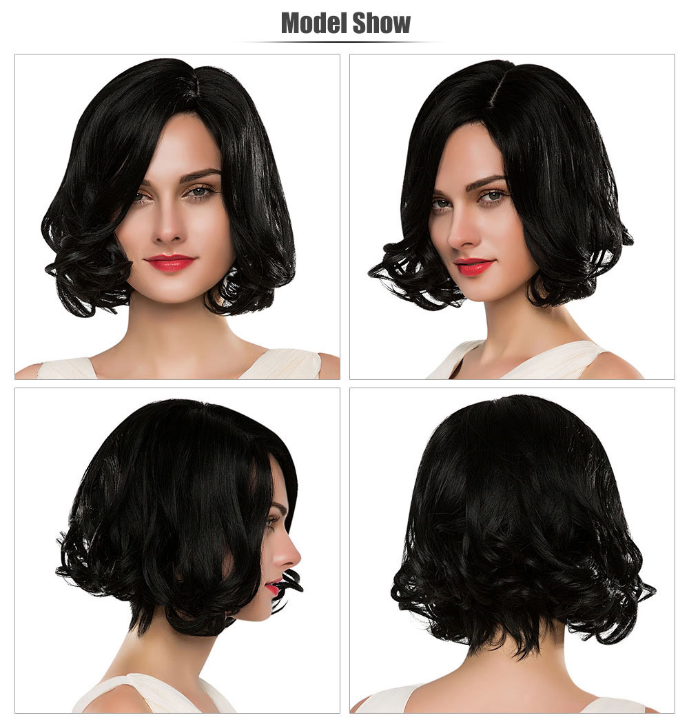 Stylish Short Natural Curly Black Capless Full Human Hair Wigs with Side Bangs