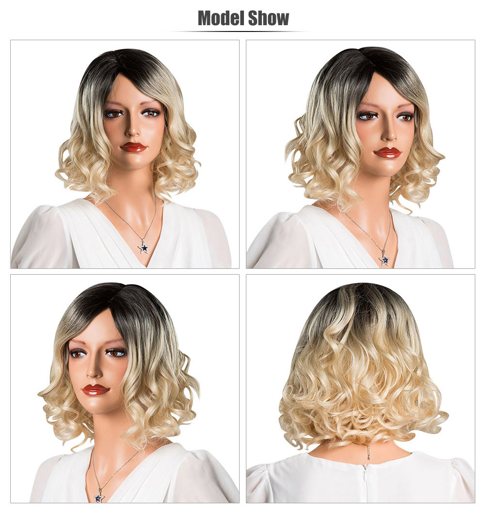 Short Bob Wavy Hair Ombre Curly Gradient Blonde Capless Full Human Hair Wigs