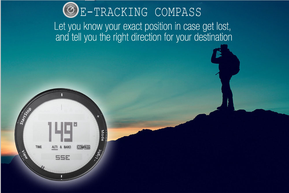 SPOVAN SPV807 Outdoor Digital Sports Watch Compass Barometer Thermometer 5ATM Wristwatch