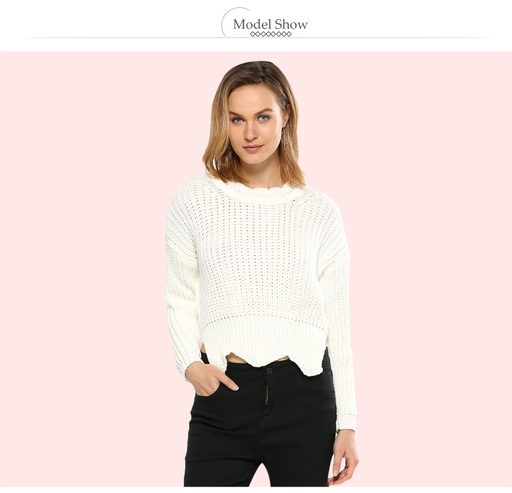 Brief Round Collar Pure Color Women Knitted Pullover