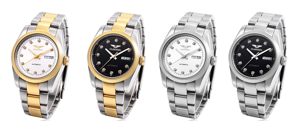 GUANQIN GQ70005 Men Auto Mechanical Watch Date Day Display Stainless Steel Band Wristwatch