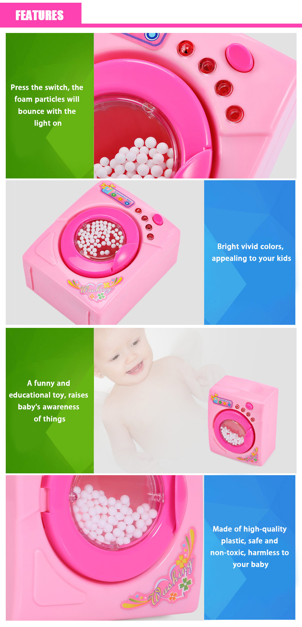 Kids Mini Simulation Appliance Washing Machine Educational Pretend Play Household Toy Present