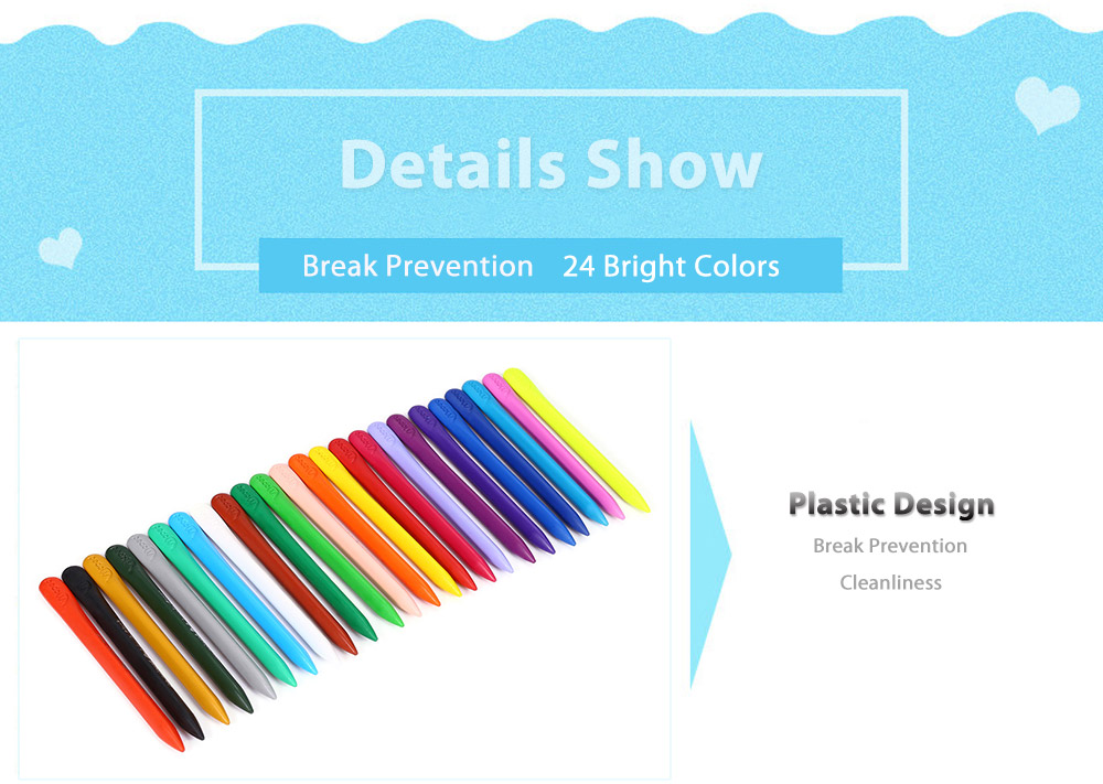 Maped Universal Bright Colorful Bar Plastic Crayon with 24 Colors