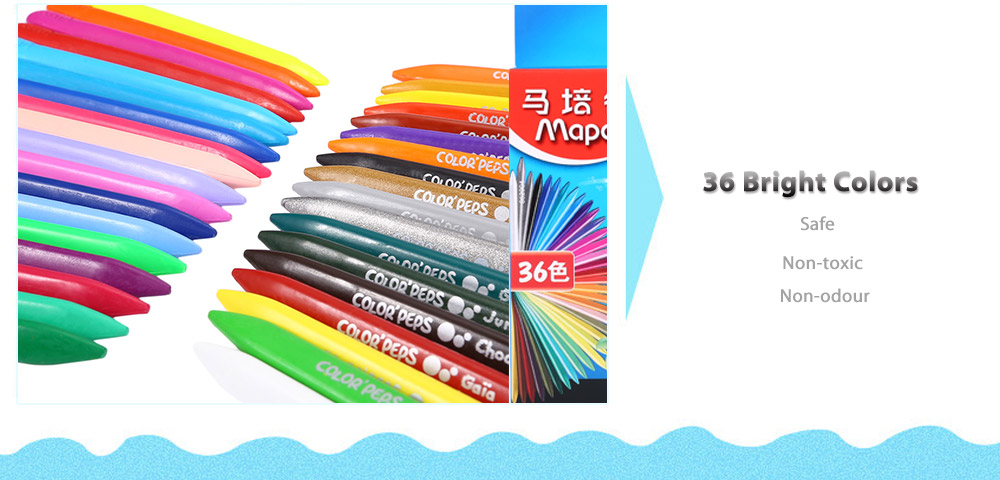 Maped Universal Bright Colorful Bar Plastic Crayon with 36 Colors