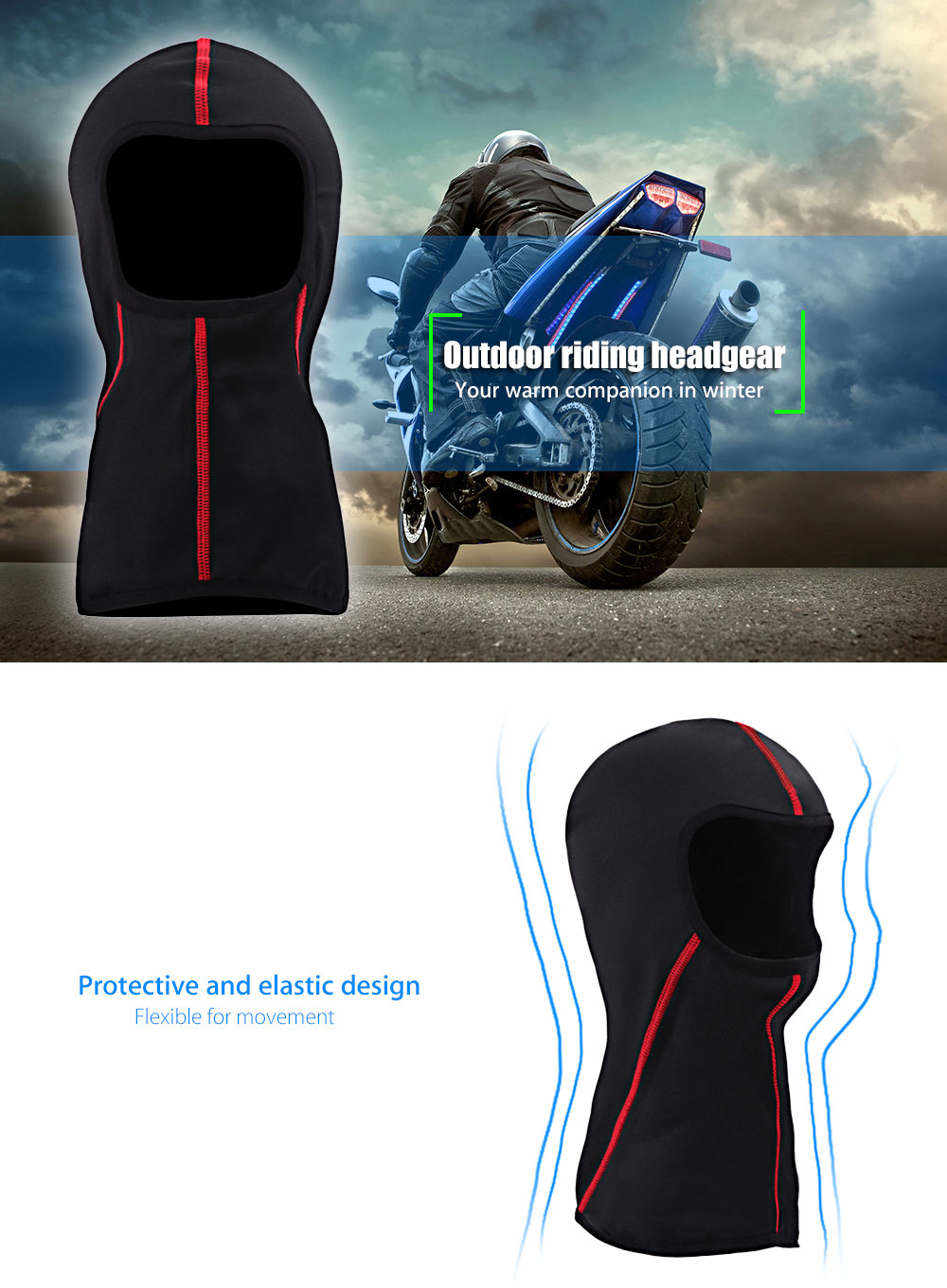 SALETU Breathable Outdoor Sports Riding Headgear Motorcycle Cycling Protect Full Face Mask