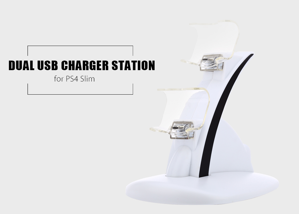 Dual USB Charger Dock Station for PS4 Slim Controller