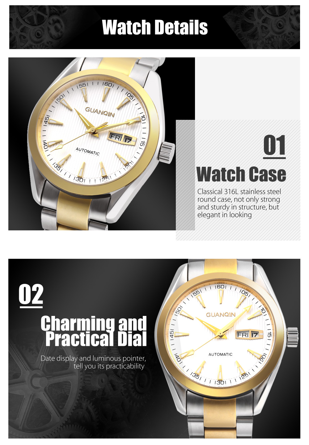 GUANQIN GQ30068 Men Auto Mechanical Watch Date Day Display Stainless Steel Band Wristwatch