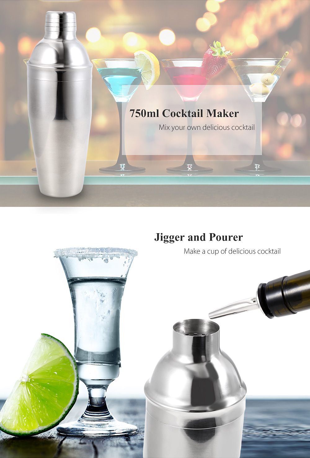 Professional Stainless Steel Cocktail Shaker Kit with Mixer Jigger Pourer