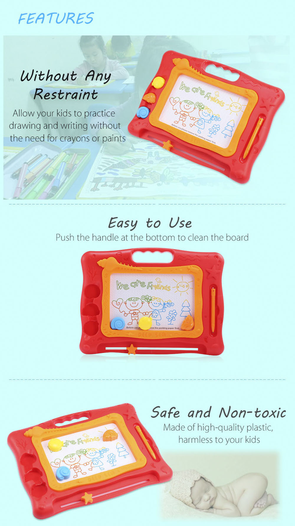 Children Magical Draw Sketch Tablet Board Toy Christmas Present with Pen