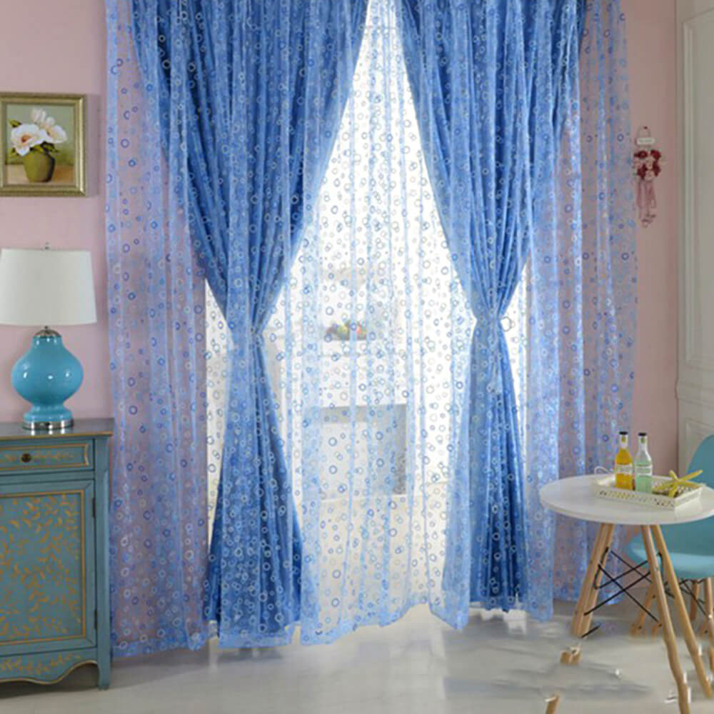 100 x 200cm Shimmery Circle Printed Voile Door Window Sheer Panel Curtain