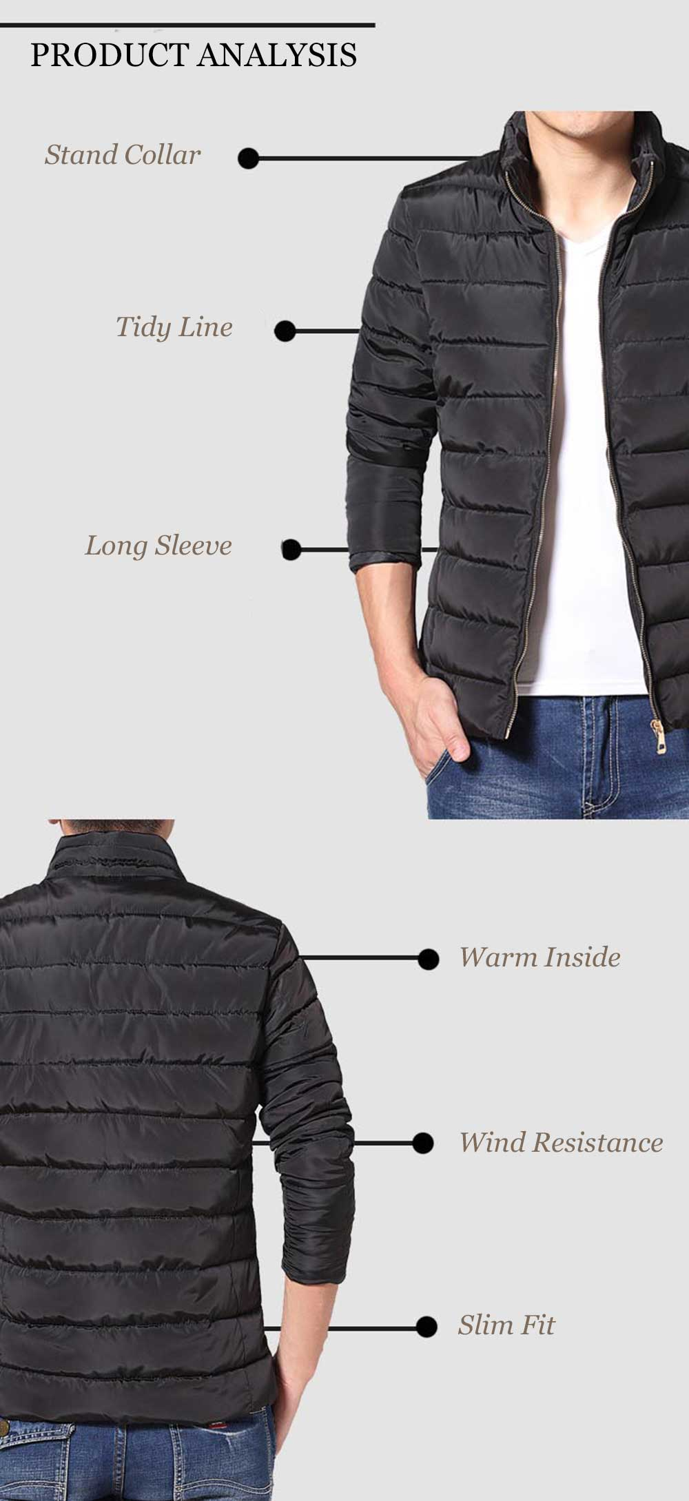 Casual Pure Color Zipper Design Stand Collar Long Sleeve Coat for Men