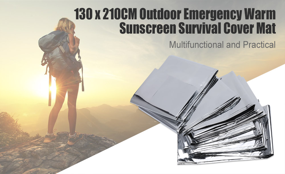 Aotu 130 x 210CM Outdoor Emergency Warm Sunscreen Survival Cover Mat Pad Blanket