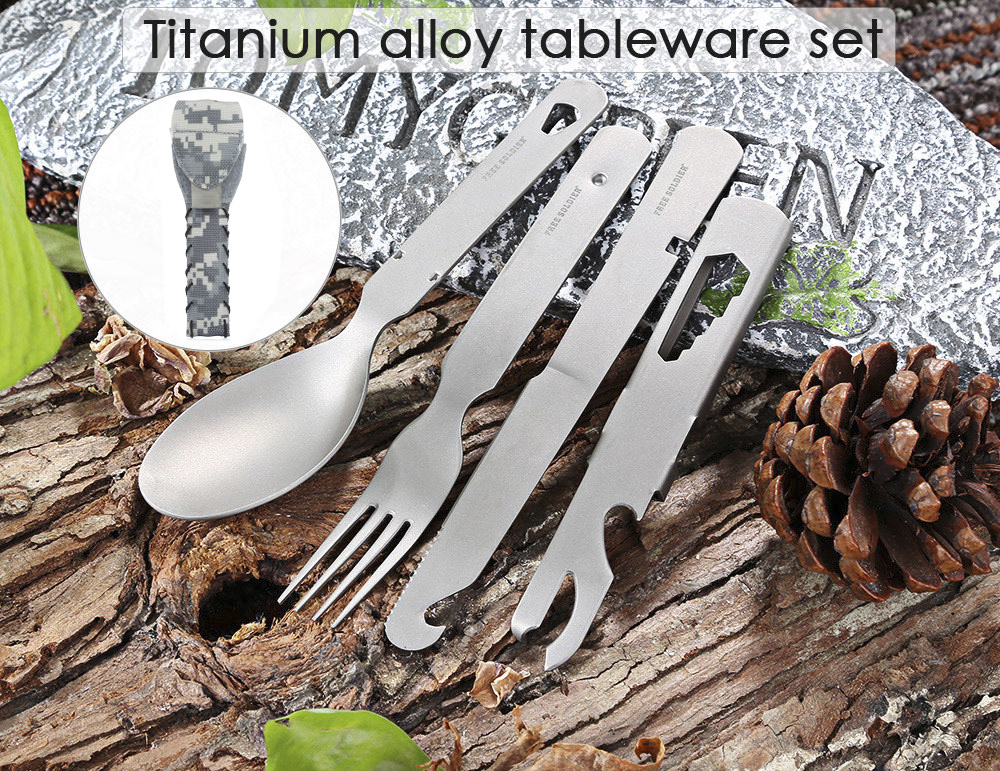 FREE SOLDIER Lightweight Tableware Set Spoon Fork Knife Camping Tool