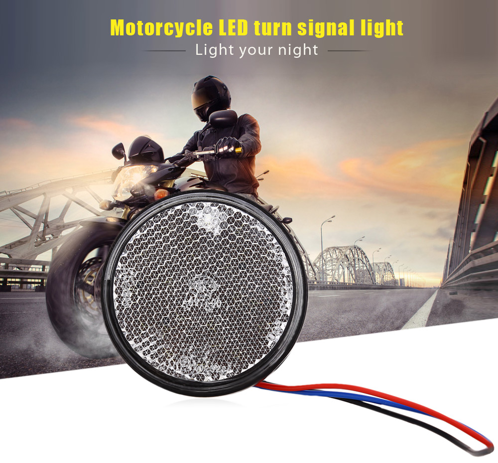 Motorcycle LED Turn Signal Rear Tail Stop Light ATV Taillight Round Brake Lamp