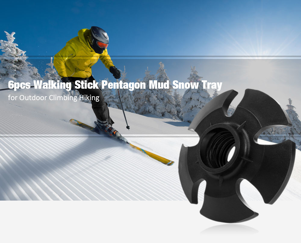 6pcs Outdoor Climbing Hiking Walking Stick Pentagon Mud Snow Tray