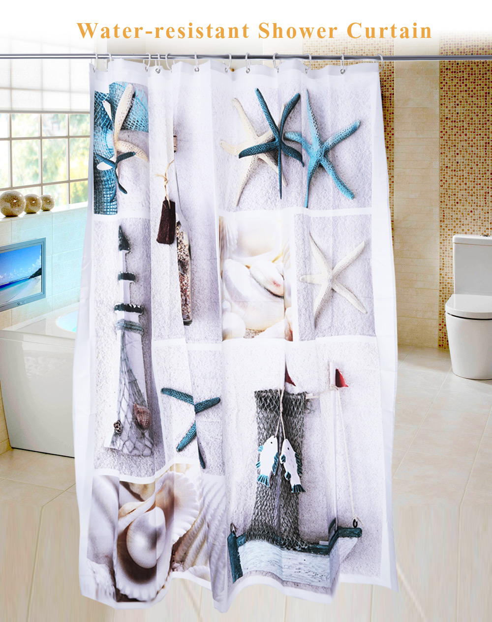 3D Blue Sea Life Seashell Pattern Water-resistant Bathing Shower Curtain Bathroom Decor